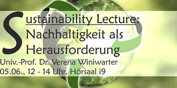 Grüne Erdkugel. Text im Bild: Sustainability Lecture: Nachhaltigkeit als Herausforderung.