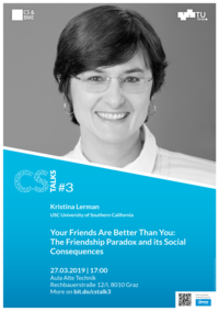 Kristina Lerman smiles, poster text on blue background