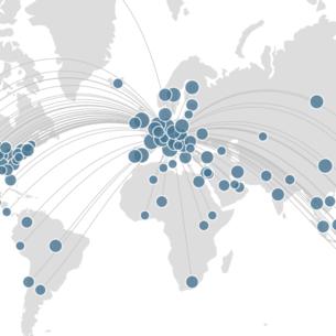 Screenshot des TU Graz Forschungsportals, Weltkarte mit vernetzten Standorten. Bildquelle: Screenshot graz.pure.elsevier.com