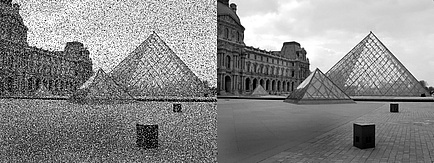 Comparison of a photo of the Louvre Pryramides, once with technical image errors, once with correction