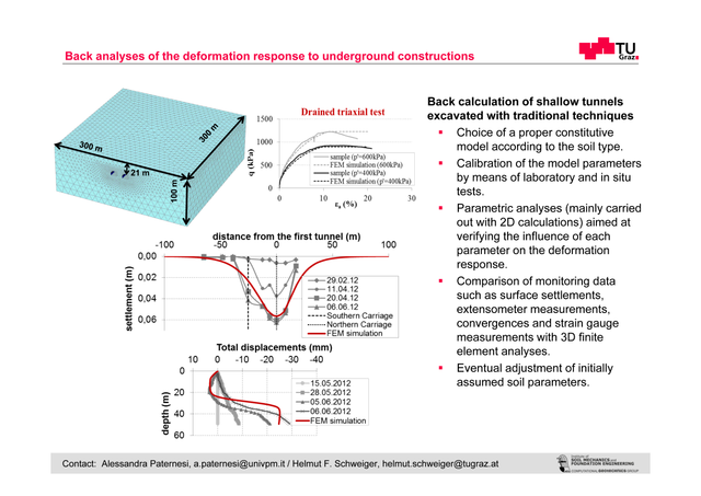 Back analyses of the deformation response to underground constructions