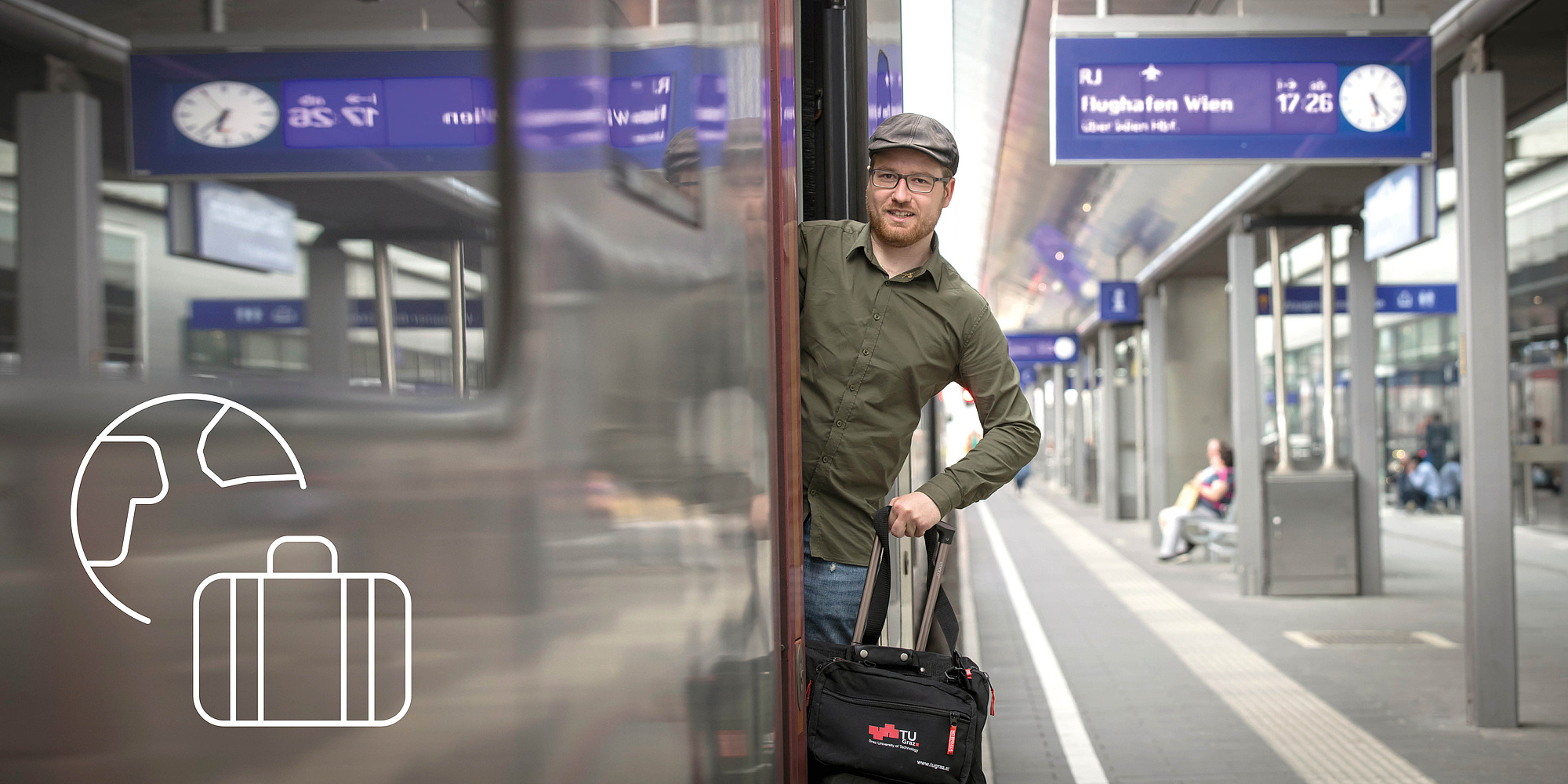 Man boards a train