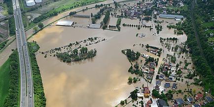 Luftaufnahme von Hochwassergebiet