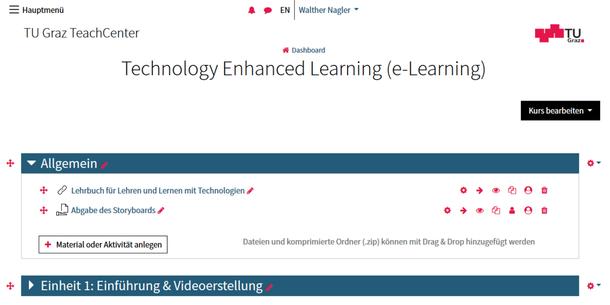 Screenshot vom Teach Center 3.0.