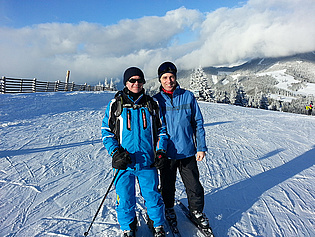 Visiting Professor Marwan Darwish with Wolfgang Sanz skiing at Salzstiegl!