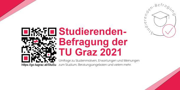 QR-Code besides the German text: Studierendenbefragung der TU Graz 2021