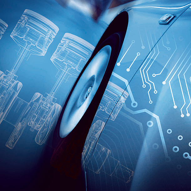 Construction plans projected on a car. Mobility and Production, Photo source: istock and Fotolia.com