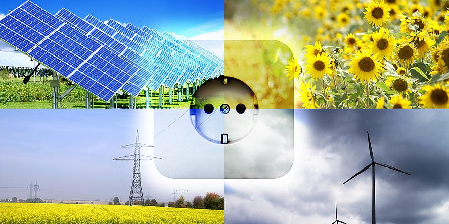 Vierteiliges Bild mit Solarpanelen, Sonnenblumen, Hochspannungsleitungen im Rapsfeld und Windkraftanlagen, in der Mitte eine Steckdose vor durchsichtigem Hintergrund.