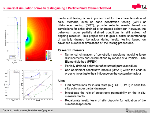 Numerical simulation of in-situ testing using a Particle Finite Element Method