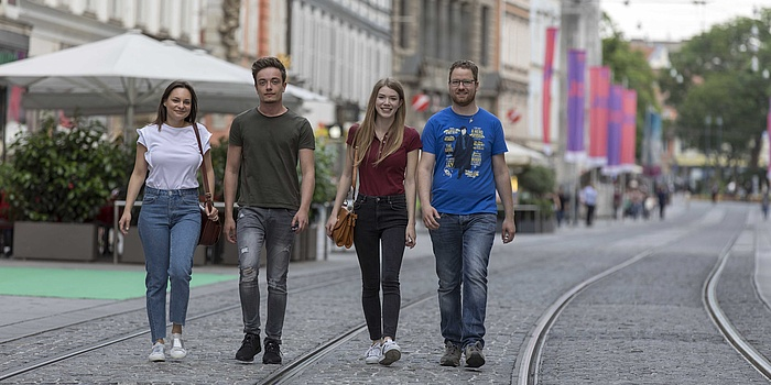 Lively street in the city center of Graz