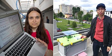Forscherin mit Laptop und Forscher mit Pollensensor