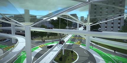 Drei Fahrbahnen mit je einer Spur führen auf Stützpfeilern quer durchs Bild. Auf jeder Fahrbahn fahren autonome Autos. Die Überdachung der Fahrbahnen ist durchsichtig. Unter den Fahrbahnen ist ein Kreisverkehr.