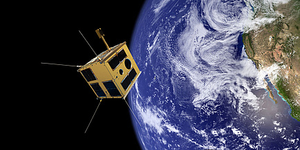 Eine Fotomontage des Satelliten TUGSAT-1 im All.