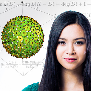 Portrait of a female student. Next to it you can see a polyhedron, in the background you can see mathematical formulas.