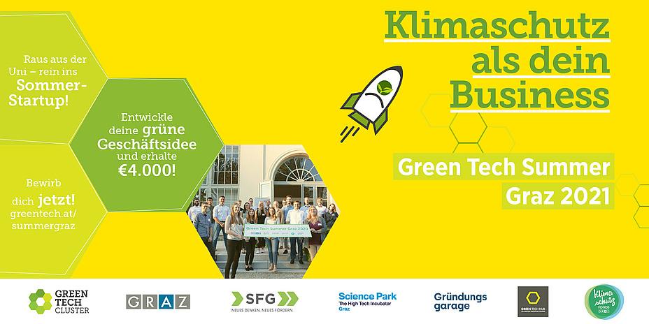 """Gelb-grüne Grafik mit stilisierter kleiner Rakete und der Aufschrift """"Klimaschutz als dein Business""""."""