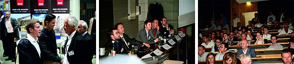 links: zwei Personen im Gespräch; Mitte: fünf Vortragende bei der Diskussionsrunde; rechts: Teilnehmer einer Veranstaltung in einem Hörsaal der TU Graz