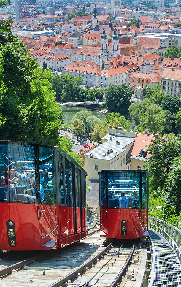 Furnicular to the Schlossberg, Graz. Photo source: Graz Tourismus - Harry Schiffer