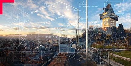 Stadtansicht von Graz, über die mathe-matische Modelle gelegt sind.