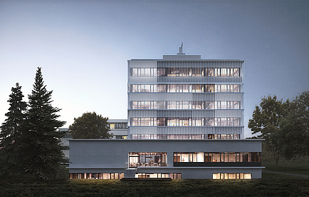 Rendering of a seven-storey white building at dusk