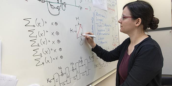 Eine junge Frau steht neben einem Whiteboard und zeichnet mit schwarzem Stift eine Box. Oben steht ein M und ein Pfeil zeigt auf die Box, seitlich ein K ebenfalls mit einem Pfeil auf die Box, unten ein C mit einem Pfeil von der Box weg. In der Box steht ein E und eine rote Pyramide.