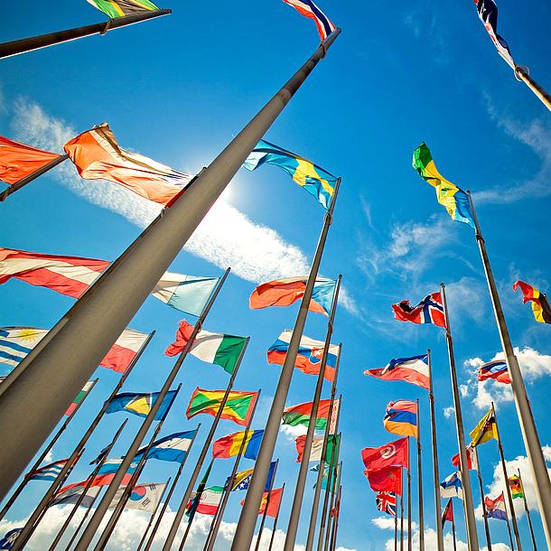 Länderflaggen auf Fahnenstangen, Bildquelle: Sandor Jackal – Fotolia.com