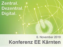 """Grüner Hintergrund mit schematischer Weltkugel, Power On/Off-Logo und Schriftzug """"Zentral. Dezentral. Digital""""."""