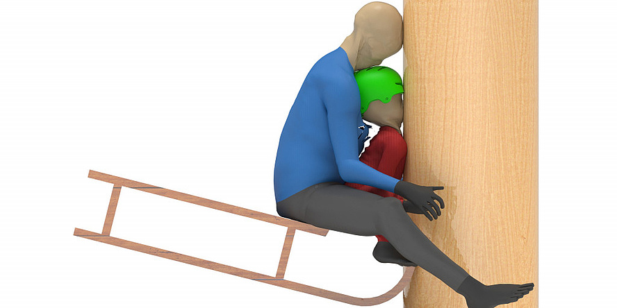 Computer simulation of a toboggan crash: Child sitting on the toboggan is trapped between an adult sitting behind it and a tree.