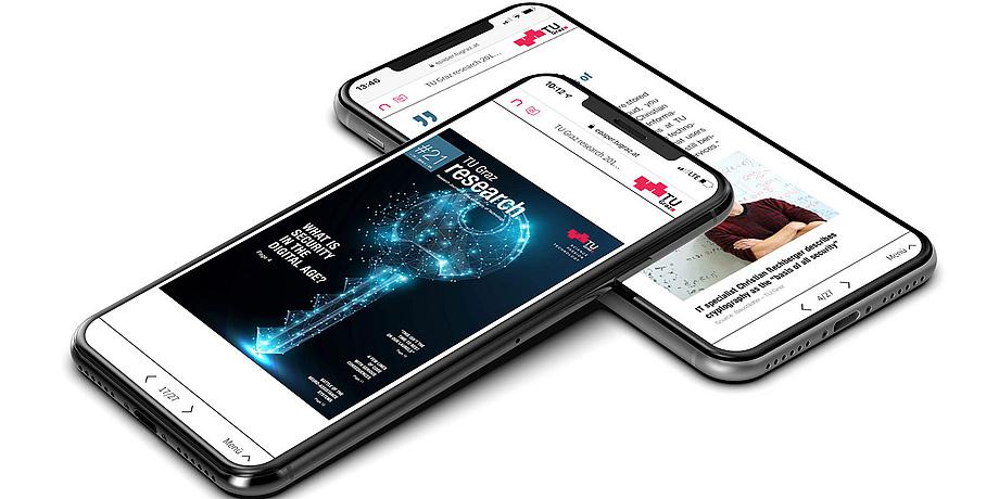 Zwei Smartphones mit TU Graz-Inhalten am Display