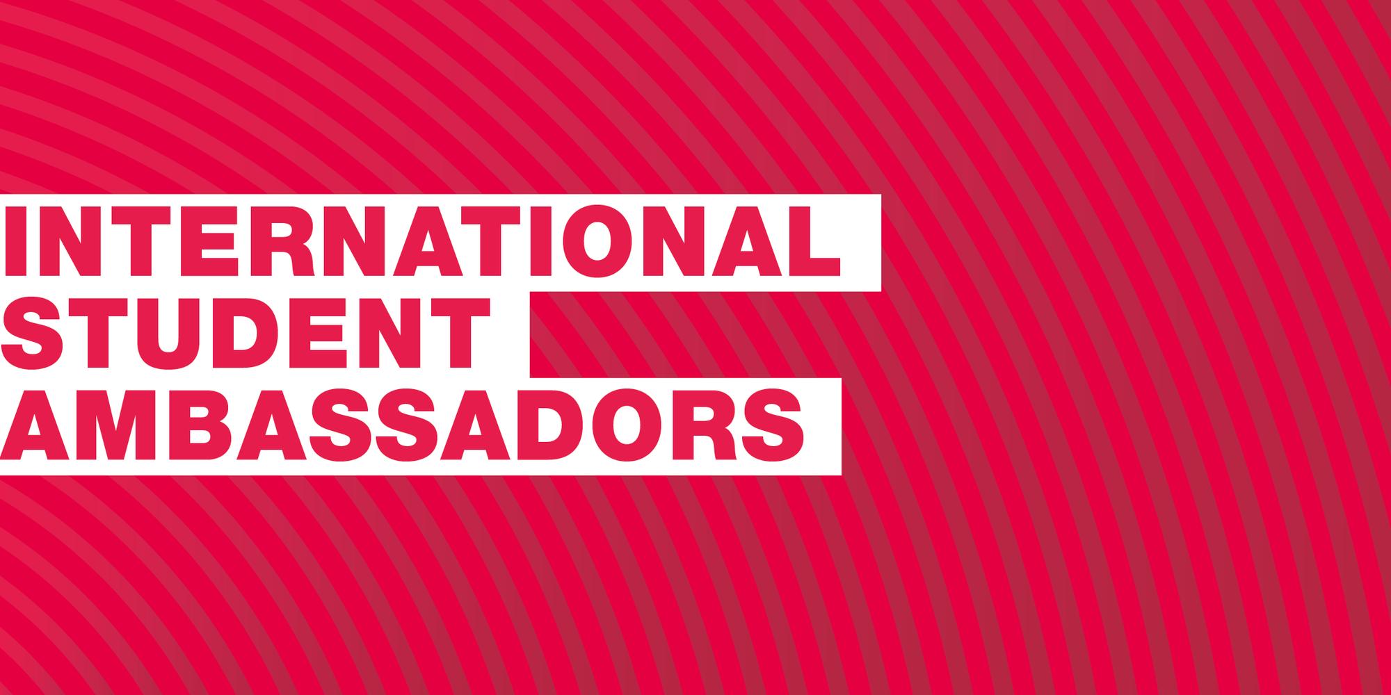 Text: International Student Ambassadors