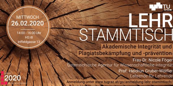 Text im Bild: LehrStammtisch. Akademische Integrität und Plagiatsbekämpfung und -prävention.