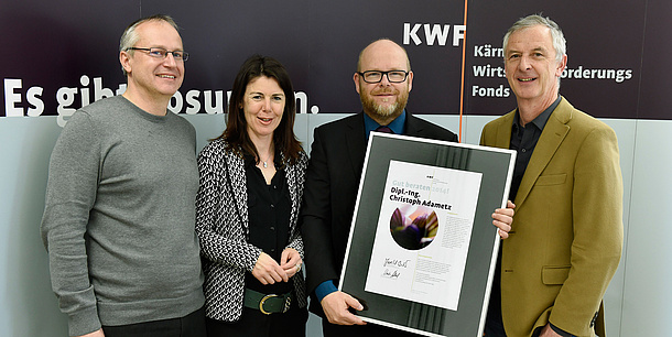 "Christoph Adametz, TU Graz and Winner ""Gut beraten 2014!"",  Erhard Juritsch, KWF-Chairman (f.l.). Photo source: KWF - Fritz Press GmbH"