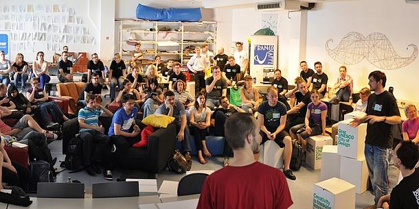Teilnehmende an einem Barcamp.