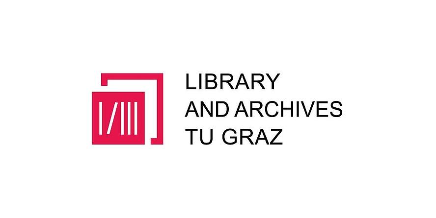 rotes Icon der Servieeinrichtung Bibliothk und Archiv in englischer Sprache, Bildquelle: TU Graz
