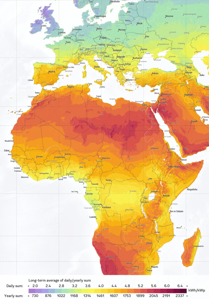 A map of Europe and Africa. Africa is largely red and yellow coloured, while Europe is largely yellow and green coloured. Bellow it says: Long-term average of daily/yearly sum.