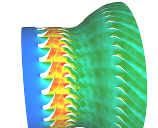 Mach Number at mid span of the AIDA duct. Simulation done with the in-house code LINARS.
