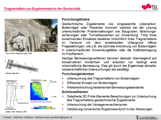 Tragverhalten von Zugelementen in der Geotechnik
