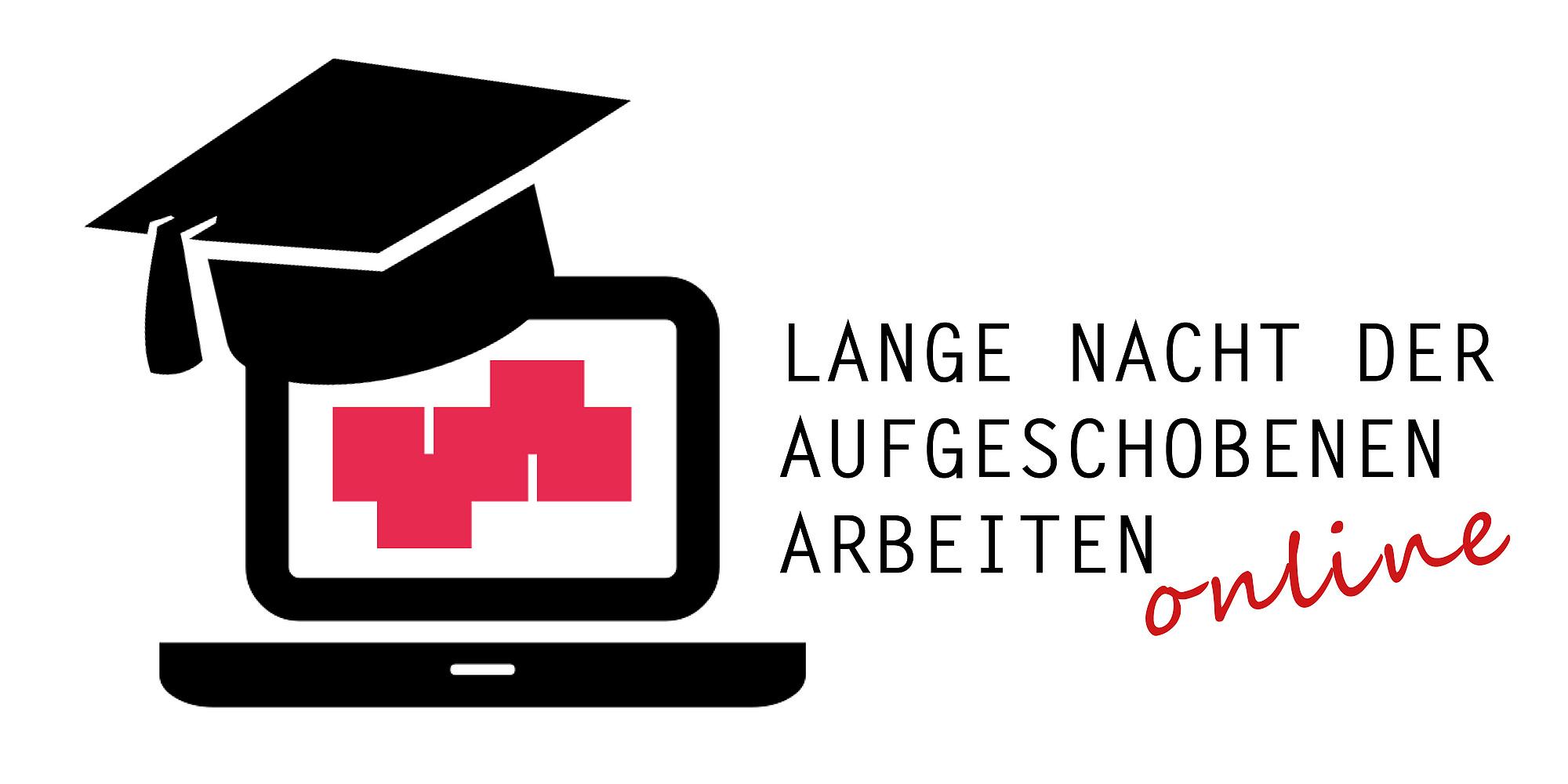 Notebook and graduation cap. Text: Lange Nacht der aufgeschobenen Arbeiten online.