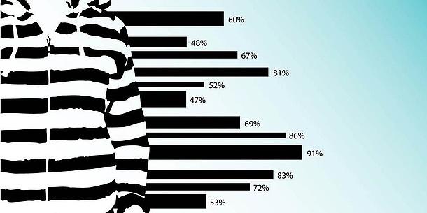 Auf der linken Seite ist eine Person in einem schwarz-weißen Pullover zu erahnen. Rechts daneben ist ein Balkendiagramm mit verschiedenen Prozentangaben zu sehen.