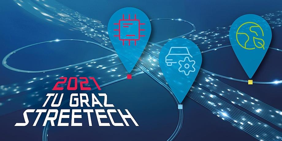 TU Graz StreeTech Sujetbild mit Straßenführungen, Nadeln mit Symbolen