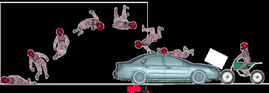 Computersimulation eines Mopedfahrers, der über ein Auto fällt