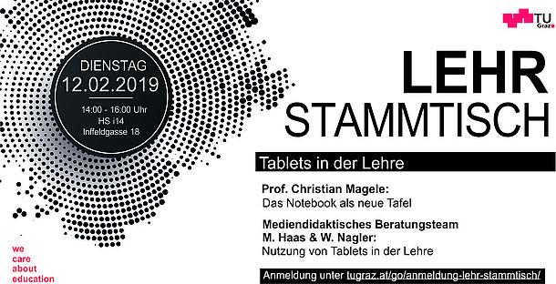 Flyer der Veranstaltung Lehr-Stammtisch. Bildquelle: TU Graz