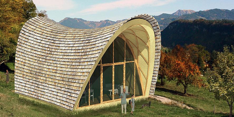 Grafische Darstellung des sattelförmigen Strohboid als geschlossener Wohnraum am Berg.