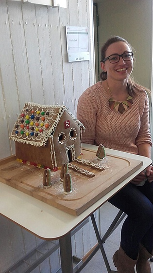 Sabine Bauinger celebrates her birthday with her self-baked gingerbread house :-)