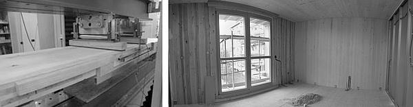 links: Biegeprüfung einer BSP-Platte; rechts: Innenansicht eines BSP-Gebäudes im Rohbau