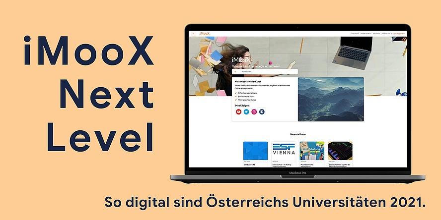 Laptop mit der Startseite von iMooX.at am Bildschirm;