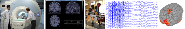 project banner. An MRI scanner at left hand, MRI images and a walking person with EEG electrodes in center, EEG signals and EEG brain mapping at right hand.
