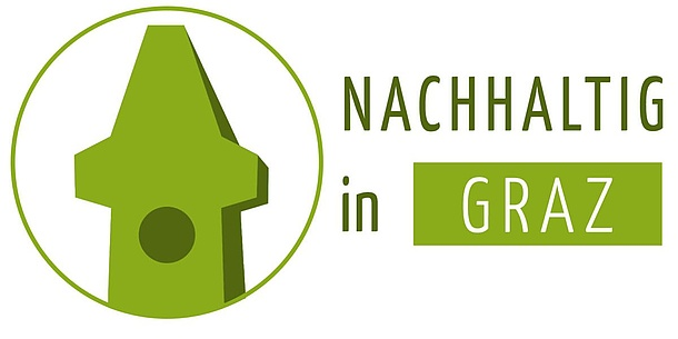 """A green clock tower can be seen next to the lettering """"Nachhaltig in Graz""""."""