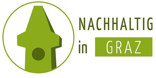 """Ein grüner Uhrturm ist zu sehen, daneben der Schriftzug """"Nachhaltig in Graz""""."""