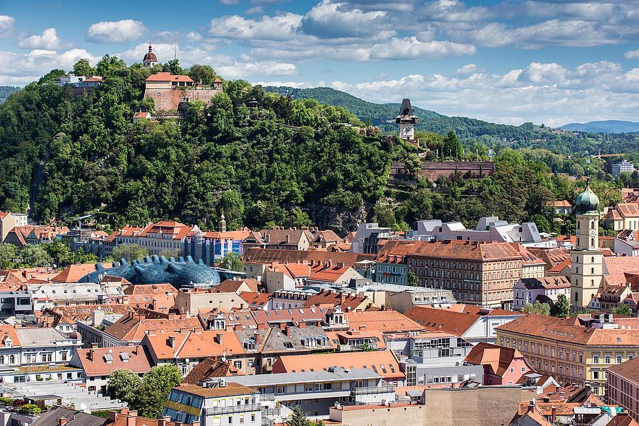 Historische Stadtlandschaft mit roten Ziegeldächern und einem bewaldeten Stadtberg vor den Ausläufern bewaldeter Gebirge weiter im Hintergrund.