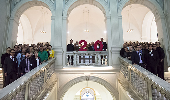 A big group picture in the stairway of Alte Technik